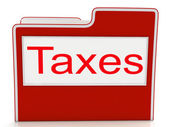 Taxes File Means Duties Duty And Taxpayer — Zdjęcie stockowe