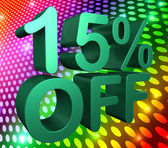 Fifteen Percent Off Means Sale Discounts And Clearance — Stock Photo