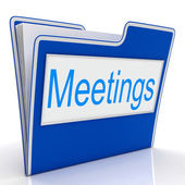 Meetings File Means Gathering Administration And Binder — Zdjęcie stockowe