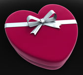 Gift Heart Means Valentine Day And Gift-Box — 图库照片