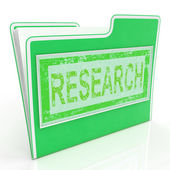 File Research Shows Gathering Data And Researcher — Zdjęcie stockowe