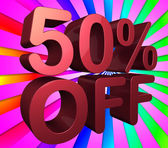 Fifty Percent Off Indicates Reduction 50 And Percentage — Stock Photo