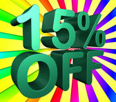 Fifteen Percent Off Indicates Promo Sales And Promotion — Stock Photo