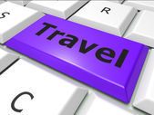 Online Travel Represents World Wide Web And Expedition — Стоковое фото