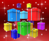 Giftboxes Celebration Shows Present Giving And Presents — Stock Photo