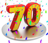 Seventieth Seventy Shows Happy Birthday And Anniversaries — Stock Photo