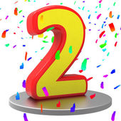 Two Anniversary Represents Happy Birthday And 2Nd — Stock Photo