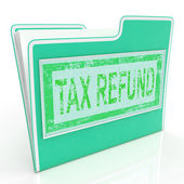 Tax Refund Shows Taxes Paid And Administration — 图库照片
