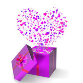Heart Gift Indicates Valentines Day And Gift-Box — ストック写真
