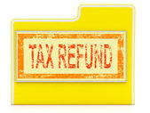 Tax Refund Means Taxes Paid And Administration — Stock Photo