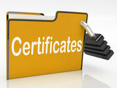 Certificates Security Indicates Private Achievement And Binder — Stock Photo