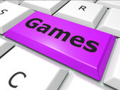Games Online Shows World Wide Web And Entertaining — Foto Stock