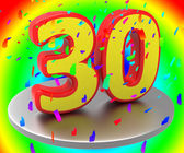 Thirty Anniversary Indicates Birthday Party And 30Th — Stock Photo