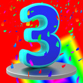 Birthday Three Means Celebrating Occasion And Anniversaries — Foto Stock