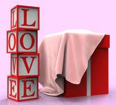 Liebe geschenkbox stellt mitfühlend paket und vorliebe — Stockfoto