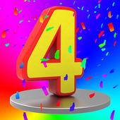 Birthday Fourth Indicates Happy Anniversary And Anniversaries — Foto Stock