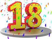 Anniversary Eighteen Represents Birthday Party And 18Th — Stock Photo