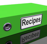 Recipes File Indicates Cook Book And Binder — Stock Photo