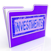 File Investments Shows Investing Investor And Invested — Stock Photo