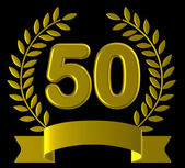 Fiftieth Birthday Means Happy Party And Congratulations — Stock Photo