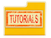 File Tutorials Indicates Study Folder And School — Stock Photo