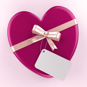 Gift Tag Shows Valentine Day And Card — Stock Photo