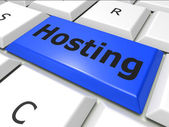 Online Hosting Means World Wide Web And Computer — Stock Photo