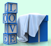 Love Giftbox Shows Dating Devotion And Greeting — Foto de Stock