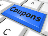 Coupons Online Represents World Wide Web And Couponing — Zdjęcie stockowe