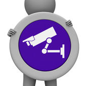 Cctv Sign Means Camera Surveillance And Message — Stock Photo