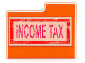 Income Tax Shows Paying Taxes And Binder — Stock Photo