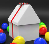 Giftbox House Means Gift-Box Celebrate And Residential — Stock Photo