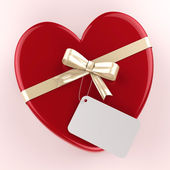 Gift Tag Indicates Heart Shape And Gift-Box — Stock Photo
