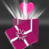 Heart Giftbox Means Valentines Day And Affection — Stock Photo