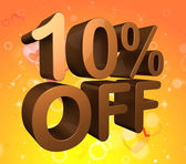 Ten Percent Off Indicates Savings Closeout And Clearance — Stock Photo