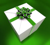 Birthday Giftbox Indicates Giving Congratulation And Party — Stock Photo