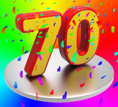 Seventy Birthday Indicates Happy Anniversary And 70Th — Stock Photo