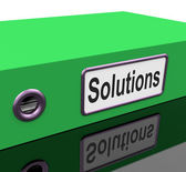 Solutions Solution Indicates Goal Resolution And Resolve — Stock Photo