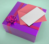 Gift Tag Shows Greeting Card And Box — Stock Photo