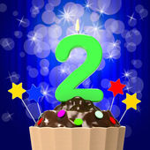 Two Second Indicates Happy Birthday And 2Nd — Stock Photo