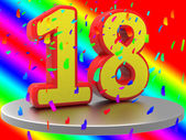 Birthday Eighteen Shows Happy Anniversary And 18Th — Stock Photo