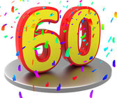 Sixtieth Birthday Means Happy Anniversary And 60Th — Stock Photo