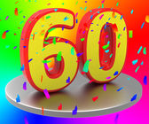 Sixtieth Anniversary Indicates Happy Birthday And Anniversaries — Stock Photo