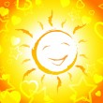 Sun Smiling Shows Cheerful Sunshine And Joyful — Stock Photo #49084059