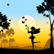 Постер, плакат: Silhouette Fairy Shows Faries Fairyland And Silhouettes