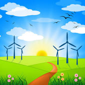 Wind Power Represents Turbine Energy And Electricity — Stock Photo