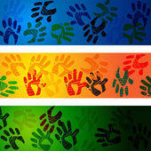 Hands Handprints Indicates Design Drawing And Abstract — Stock Photo