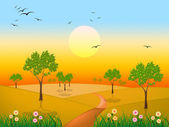 Sun Countryside Shows Green Grass And Environment — Stock Photo