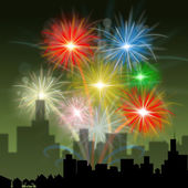 Fireworks City Indicates Night Sky And Celebration — Stock Photo