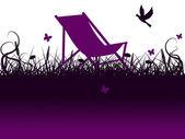 Deck Chair Shows Flower Garden And Environment — Zdjęcie stockowe